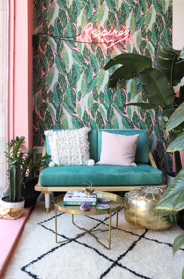 pink green deco neon sofa