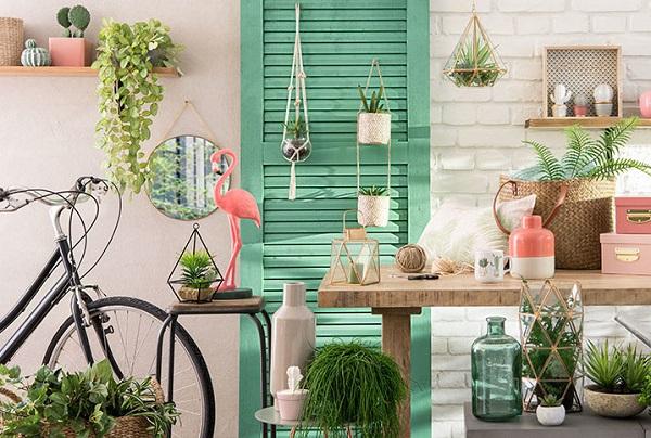 maisons du monde urban jungle green pink