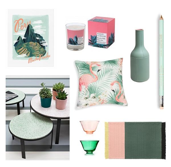sélection shopping déco vert rose green pink