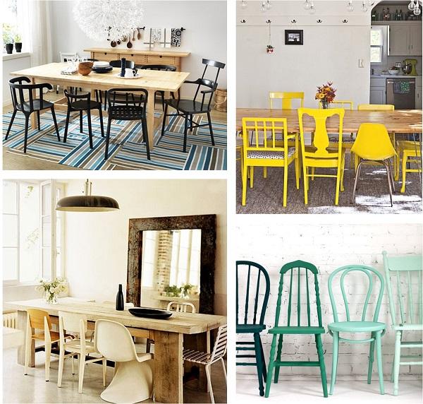 salle a manger chaises depareillees meme couleurs