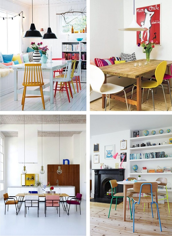 chaises differentes couleurs salle a manger