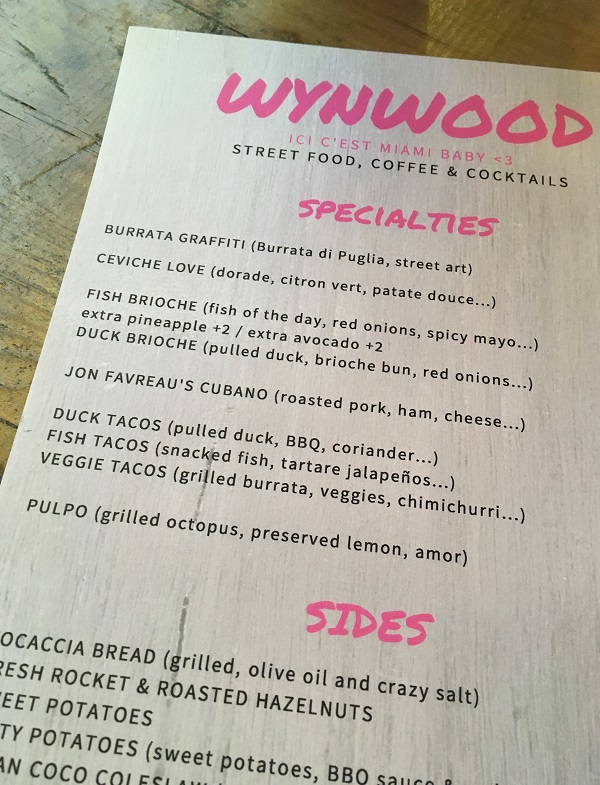 wynwood paris menu